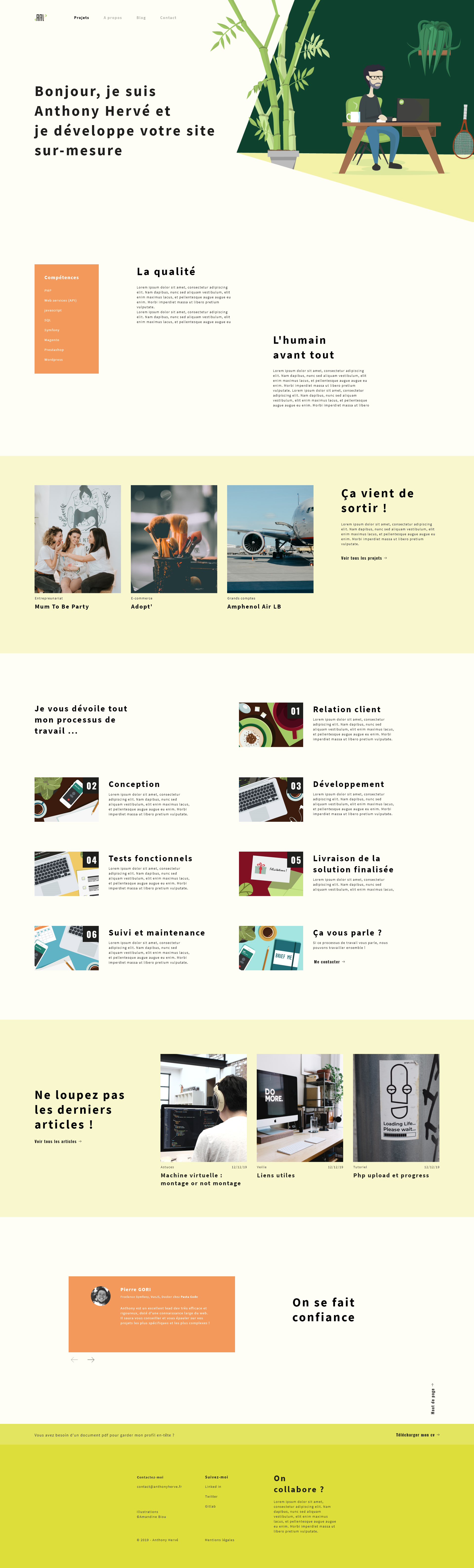 Accueil site web Anthony Hervé